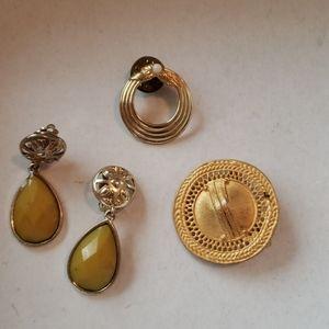 Vintage earrings pin lot